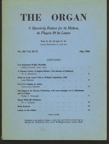 Image for The Organ: A Quarterly Review for its Makers, its Players & its Lovers Vol XLVI 1966/7