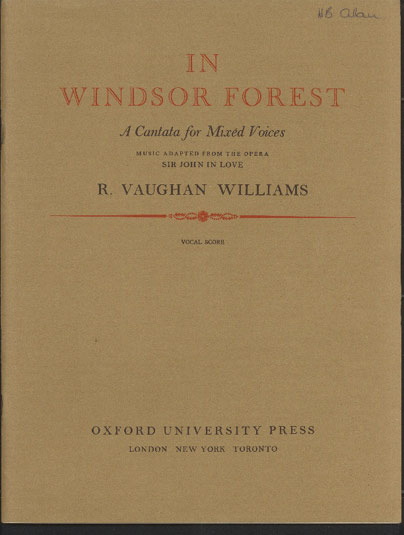 Image for In Windsor Forest. A Cantata for Mixed Voices