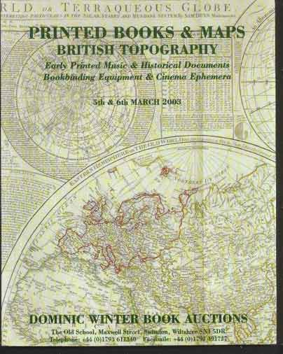 Image for Printed Books and Maps, British Topography. Early Printed Music & Historical Documents, Bookbinding Equipment & Cinema Ephemera