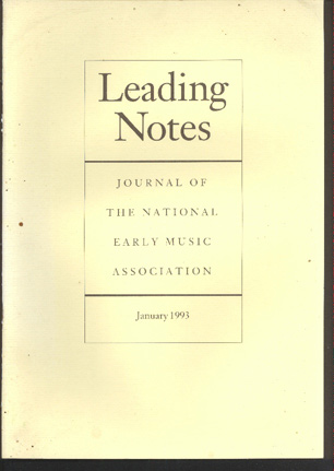 Image for Leading Notes. Journal of the National Early Music Association. Issue 5, January 1993.