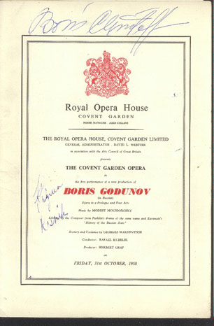 Image for Royal Opera House. the Covent Garden Opera. Autographed Programme. Boris Godunov. Friday, 31st October, 1958
