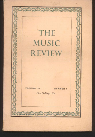 Image for The Music Review: Volume VI Numbers 1, 2, 3 & 4 with Index