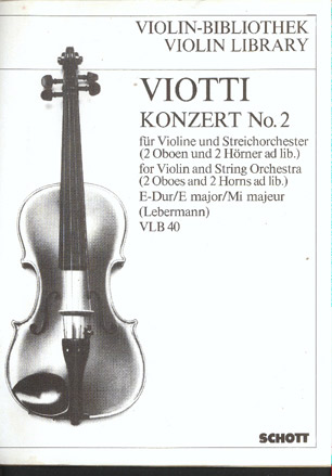Image for Konzert No. 2 in E Major for Violin and String Orchestra (2 Oboes & 2 Horns Ad Lib) VLB 40.