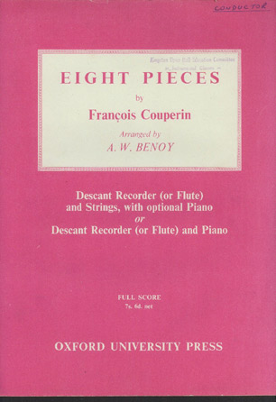 Image for Eight Pieces. Descant Recorder (or Flute) and Strings, with Optional Piano or Descant Recorder (or Flute) and Piano. Arranged by A. W. Benoy.