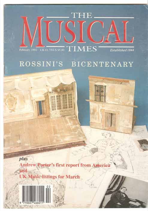 Image for The Musical Times. February 1992. Rossini's Bicentenary Edition