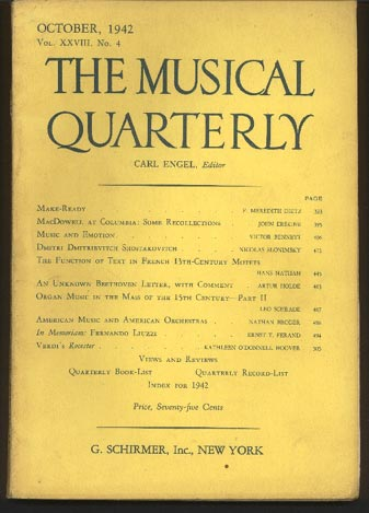 Image for The Musical Quarterly. October 1942. Vol XXVIII, No 4