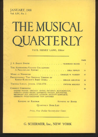 Image for The Musical Quarterly. January, 1968. Volume LIV, No 1