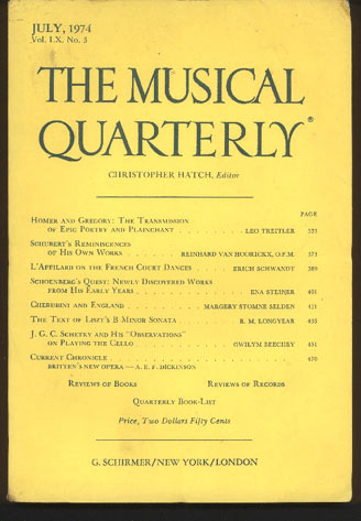 Image for The Musical Quarterly. July, 1974. Volume LX, No 3