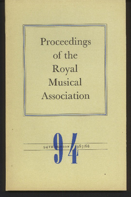 Image for Proceedings of the Royal Musical Association 94th Session , 196768