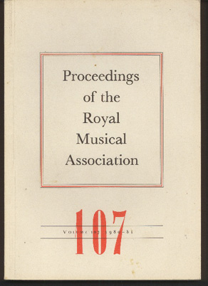 Image for Proceedings of the Royal Musical Association: Volume 107, 1980/81