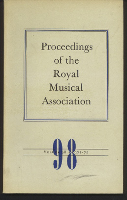 Image for Proceedings of the Royal Musical Association: Volume 98, 1971/72