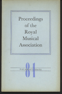 Image for Proceedings of the Royal Musical Association: Volume 81, 1954/55
