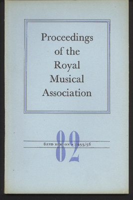 Image for Proceedings of the Royal Musical Association: Volume 82, 1955/56