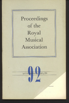 Image for Proceedings of the Royal Musical Association: Volume 92, 1965/66