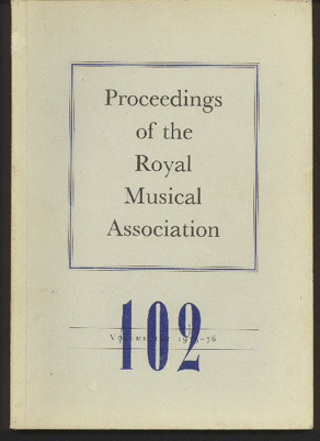 Image for Proceedings of the Royal Musical Association: Volume 102, 1975/1976