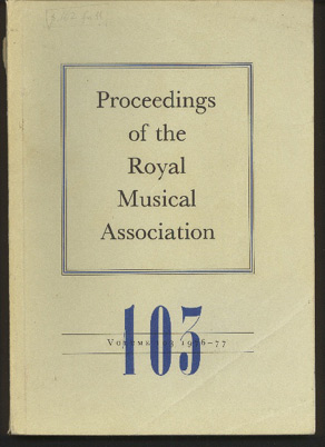 Image for Proceedings of the Royal Musical Association: Volume 103, 1976/1977