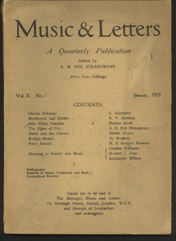 Image for Music & Letters. A Quarterly Publication Volume X, 1929