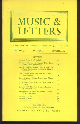 Image for Music & Letters. A Quarterly Publication Volume 55,