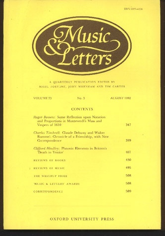 Image for Music & Letters. A Quarterly Publication Volume 73