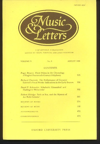 Image for Music & Letters. A Quarterly Publication Volume 71, Number 3. August 1990