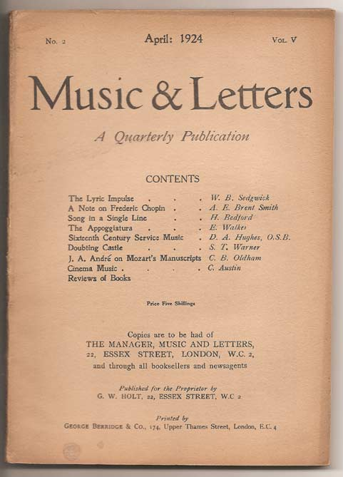 Image for Music & Letters. A Quarterly Publication Volume V