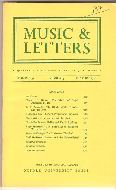 Image for Music & Letters. A Quarterly Publication. Volume 51.