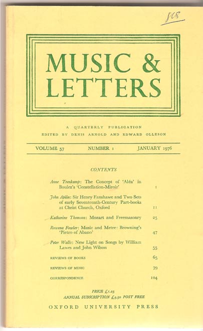 Image for Music & Letters. A Quarterly Publication Volume 57
