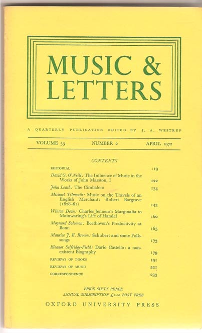 Image for Music & Letters. A Quarterly Publication. Volume 53.