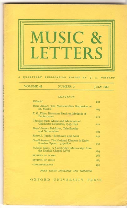 Image for Music & Letters. A Quarterly Publication Volume 42