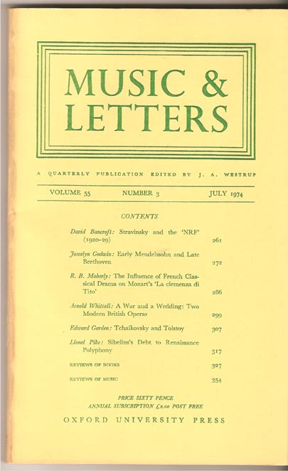 Image for Music & Letters. A Quarterly Publication Volume 55.