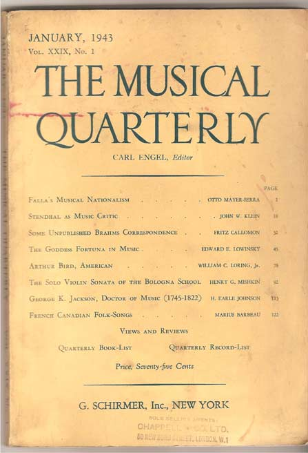 Image for The Musical Quarterly. January 1943. Vol XXIX, No 1