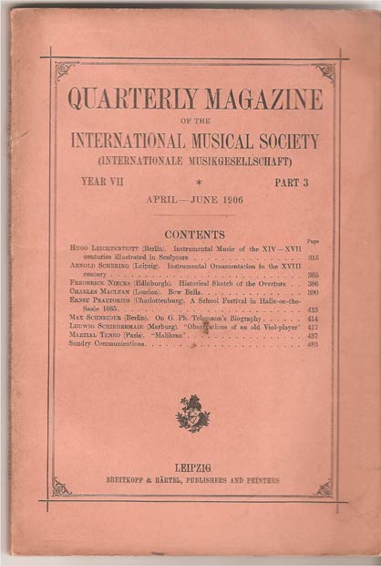 Image for Quarterly Magazine of the International Musical Society (International Musikgesellschaft) Year VII Part 3. April - June 1906