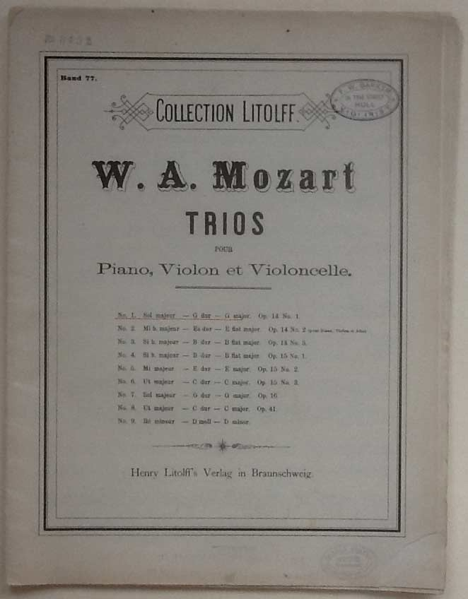 Image for Trios Pour Piano, Violon Et Violoncelle. No 1 Op 14 No 1 in G Major