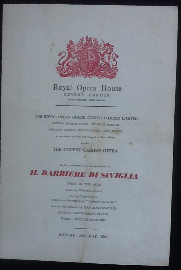 Image for Royal Opera House. Covent Garden. IL Barbiere Di Siviglia. Monday 16th May, 1960. Programme The First Performance of a New Production