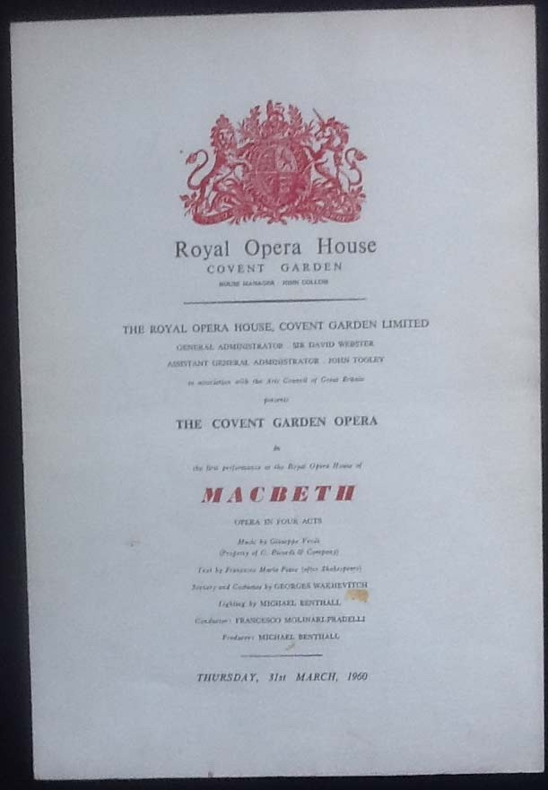 Image for Royal Opera House. Covent Garden. MacBeth. Thursday 31st March, 1960. Programme The First Performance At the Royal Opera House