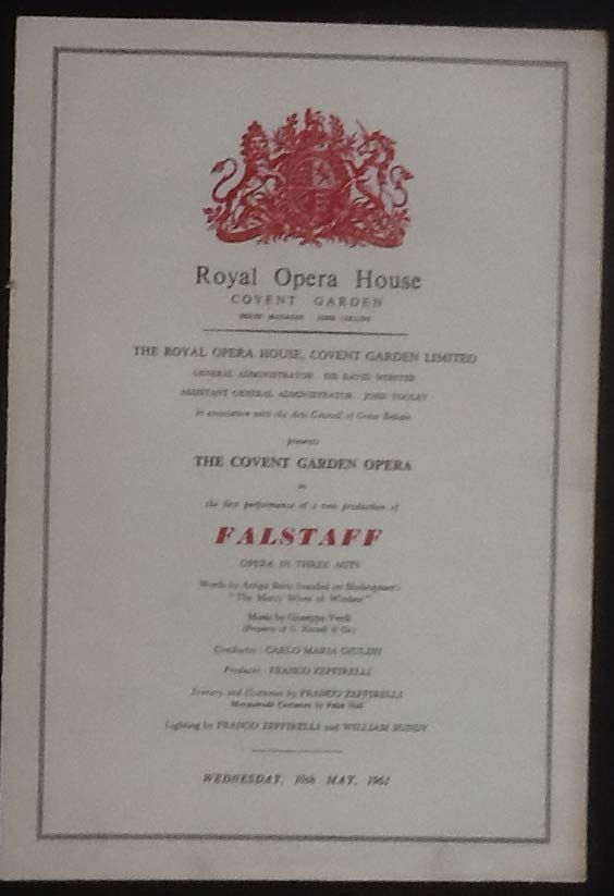Image for Royal Opera House. Covent Garden. Falstaff. Wednesday 10th May, 1961. Programme The First Performance of a New Production