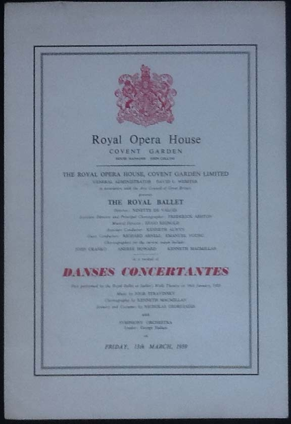 Image for Royal Opera House. Covent Garden. the Royal Ballet. Danses Concertantes. Friday 13th March, 1959. Programme The First Performance At the Royal Opera House.