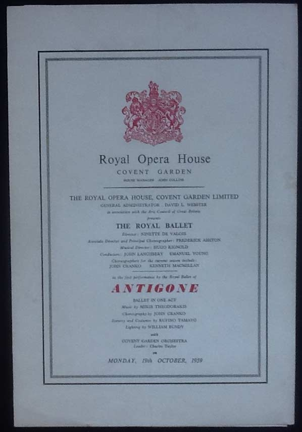 Image for Royal Opera House. Covent Garden. The Royal Ballet. Antigone. Monday 19th October, 1959. Programme The First Performance by The Royal Ballet.