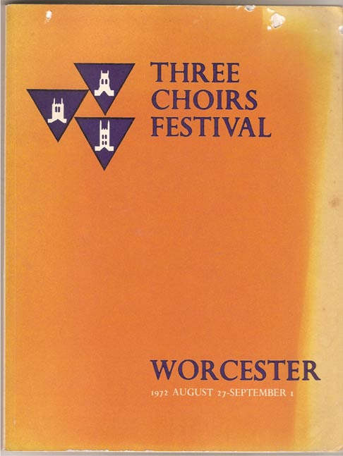 Image for Three Choirs Festival. Worcester - August 27th - September 1st. 1972. Programme