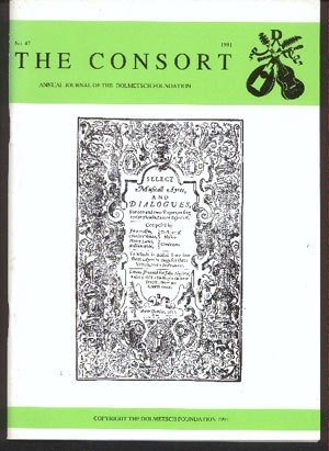 Image for The Consort: Annual Journal of the Dolmetsch Foundation Number 47 1991