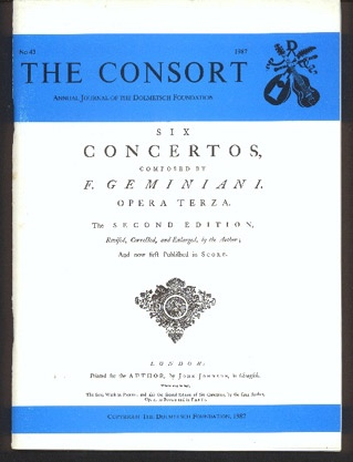 Image for The Consort: Annual Journal of the Dolmetsch Foundation Number 43 1987