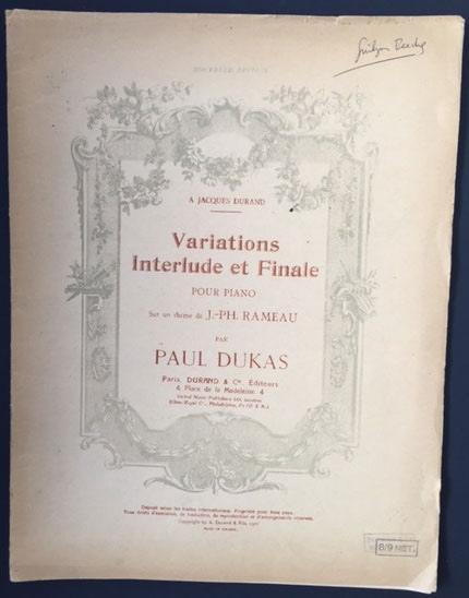 Variations, Interlude et Finale pour Piano, sur un Thème De J. -PH. Rameau.