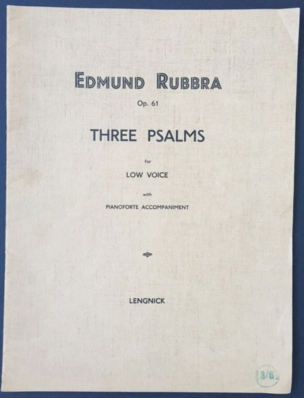 Image for Three Psalms for low voice with Piano accompaniment.