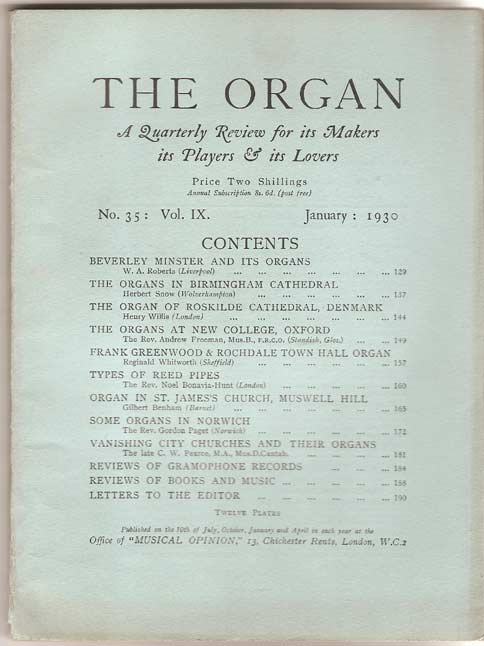 Image for The Organ: A Quarterly Magazine. Volume IX 1929 / 30