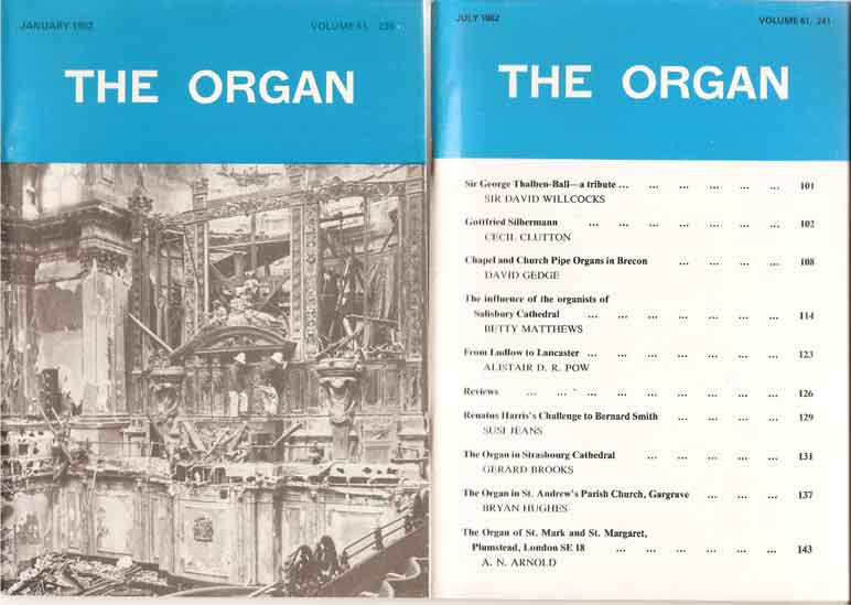 Image for The Organ: A Quarterly Review Volume 61