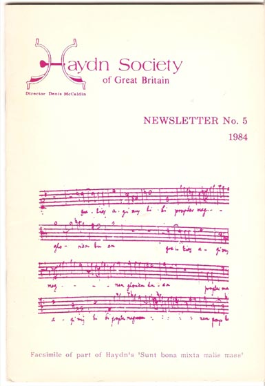 Image for Haydn Society of Great Britain. Newsletter.
