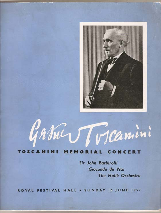 Image for Arturo Toscanini - a Concert to Commemorate. Royal Festival Hall Sunday, June 16th, 1957