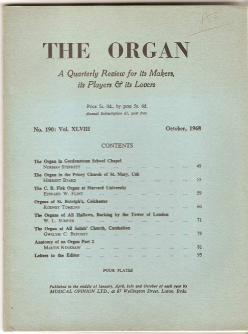 Image for The Organ:  A Quarterly Review for its Makers, its Players & its Lovers Vol XLVIII 1968