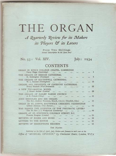 Image for The Organ: A Quarterly Review for its Makers, its Players & its Lovers Vol XIV 1934/35