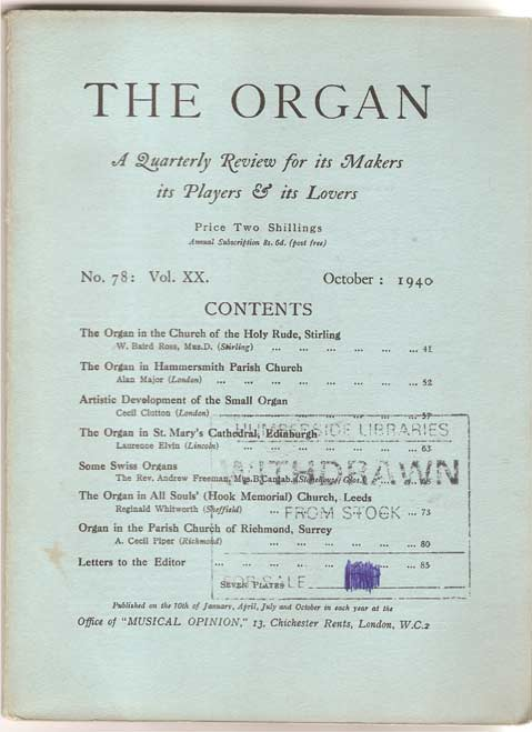Image for The Organ - A Quarterly Review for its Makers, its Players and its Lovers - Volume XX